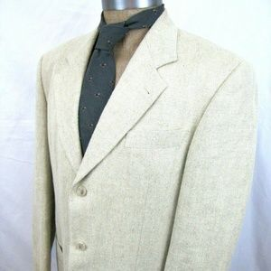 HUGO BOSS 40L Linen Sport Coat Cream Off White